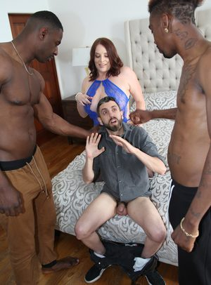 Busty wife fucks 2 black studs while her cuckold looks on in dismay