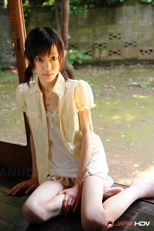 Tiny Japanese girl Aoba Itou models non nude in satin lingerie