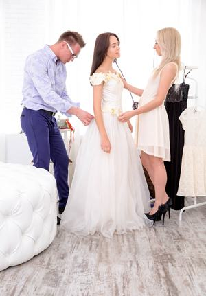 Hot chicks Michelle Carr & TD Bambi have a 3some with wedding tailor