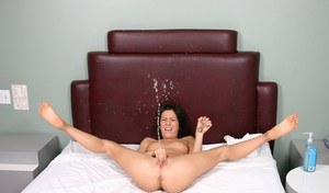 Tiny brunette Kream toys her asshole until her pussy squirts