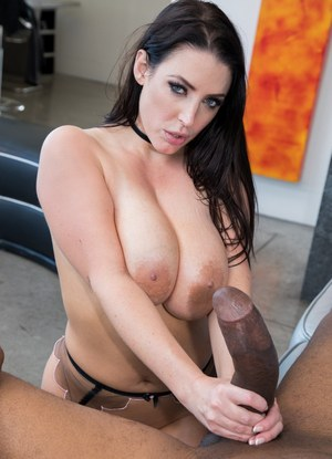 Beautiful brunette Angela White takes a massive black cock up her asshole