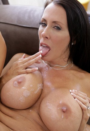 Horny cougar Reagan Foxx releases great big tits to catch a hot load of cum