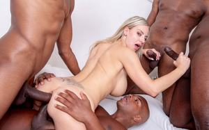 Busty blonde with blue eyes Nathaly Cherie gets gangbanged by black men