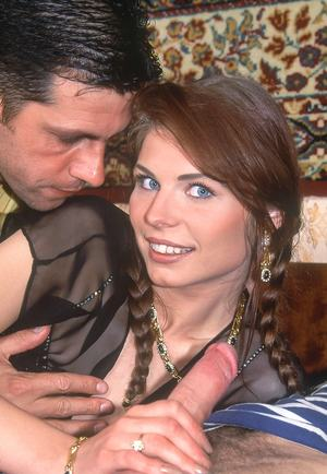 Thin female receives open mouth facials after a double penetration