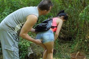 Young brunette gets fucked by an old man while picking berries