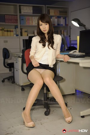 Japanese chick Yui Hatano works bound wrists free with upskirt panties showing
