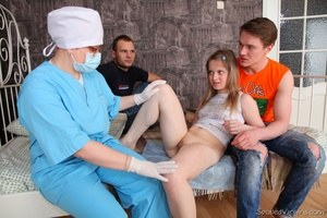 Tiny teen gets checked out by Gyno doctor before being deflowered
