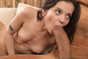 Petite brunette Lizi Vogue has sex with older man that wields a massive cock