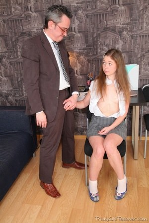 Young schoolgirl Sara gets cum on tiny tits after anal sex with her teacher