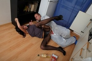 18 year old brunette lose her virginity to the repairman in ripped pantyhose