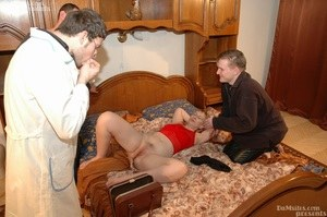 Old virgin is checked out by a Gynecologist before fucking two horny boys