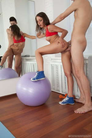 Athletic teen Angel wears cum on her face after fucking her personal trainer
