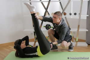 Fit teen ends up riding her trainer's cock after helping her with yoga poses