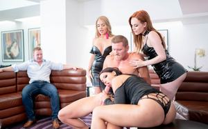 Hot females pleasure hard cocks on demand during a small gathering