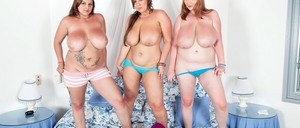 BBW Micky Bells and her overweight girlfriends show off their big natural tits