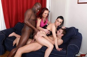 A group of white sluts suck big cocks after mixed race double penetrations