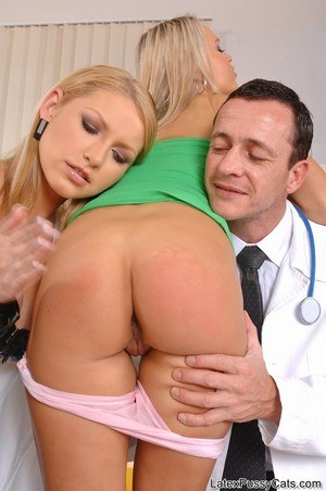 Blonde chick gets tied up and forced into a threesome at Gynecologists