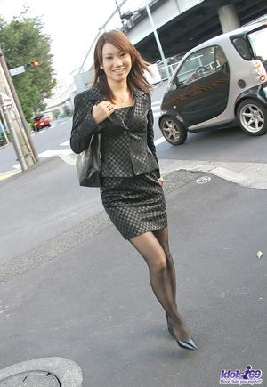 Young Japanese girl Sarina is freed from miniskirt and pantyhose