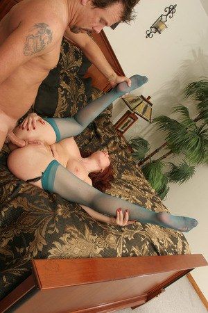 Mature pornstar with red hair Brittany Oconnel gets banged in sheer nylons