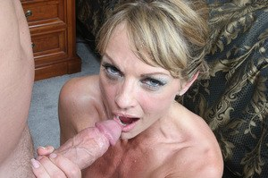 Beautiful mature woman Shayla Laveaux sucks off a cock after vaginal fucking
