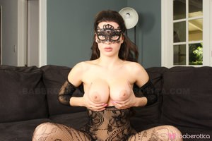 Solo model Lana Rhodes shows her twat in crotchless bodystocking and mask