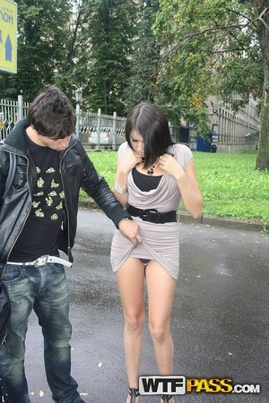 Brunette chick gets picked up off the street and fucked by a couple of boys