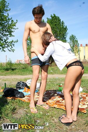 Brunette sweetie Abbey and her boyfriend make a homemade sex tape by the river