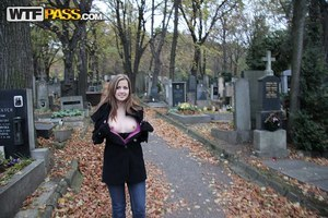Teen amateur Abi rinses out her mouth after fucking in a cemetery