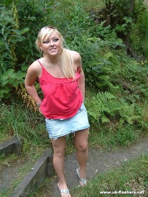 Overweight UK female with blonde hair strips naked on a popular walking trails
