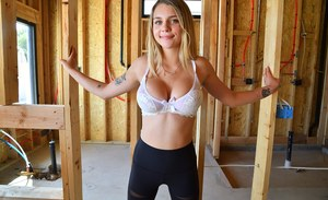 Young blonde Gabbie sets her great tits free while changing lingerie