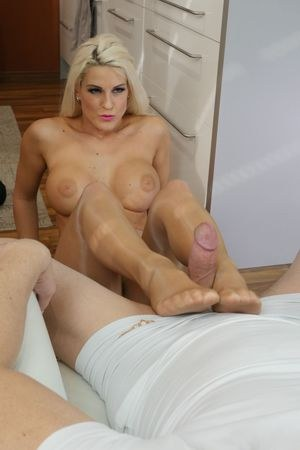Hot blonde Blanche Bradburry bares her big tits before a footjob and BJ combo