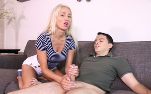 Blonde chick Misha Mynx goes topless while jacking off her brother in law