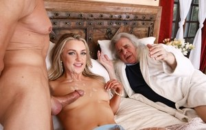 Hot wife cheats on her husband with another man while he watches them fuck