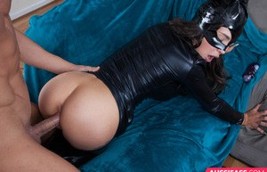 Aussie girl Chalie Brookes wears a catsuit while seducing and fucking her man
