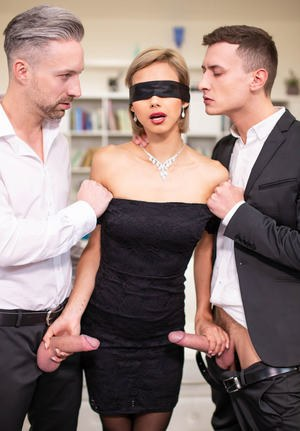 Blonde wife Veronica Leal is blindfolded before a surprise MMF fuck