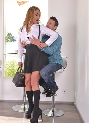 Hot MILF Eva Notty seduces her man in schoolgirl clothing before they fuck