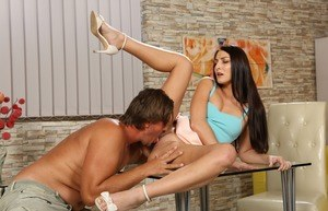 Horny brunette Katy Rose entices a guy into watersports sex in a short skirt