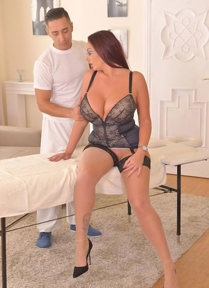 Big titted chick Emma Butt bangs her masseur with her glasses on