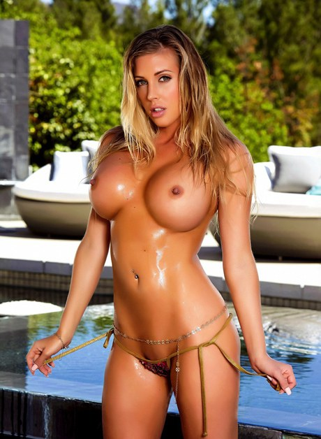 Insatiable Samantha Saint Blonde Strip Bikini Busty Pool Pictures 1