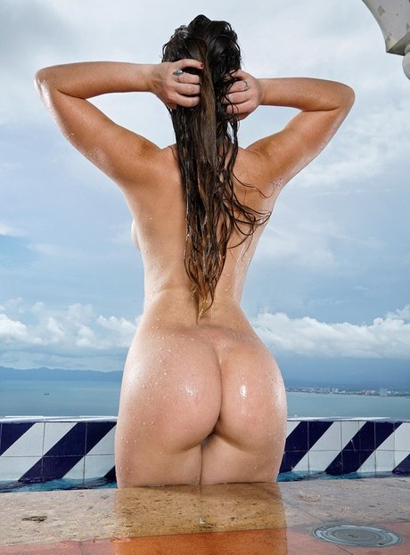 Hot model Misty Lovelace showing tiny tits & spreading wet hot ass in the pool